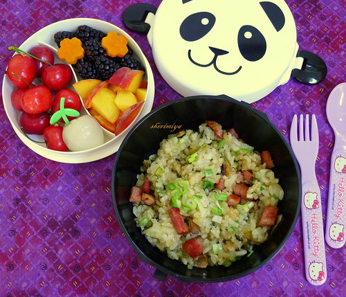 Sticky Rice and Canadian Bacon Bento Bowl by sherimiya ♥
