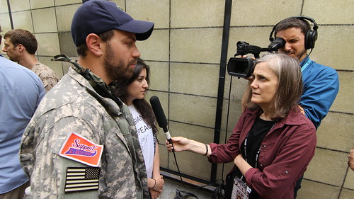 Amy Goodman interviewing Alejandro Villatoro