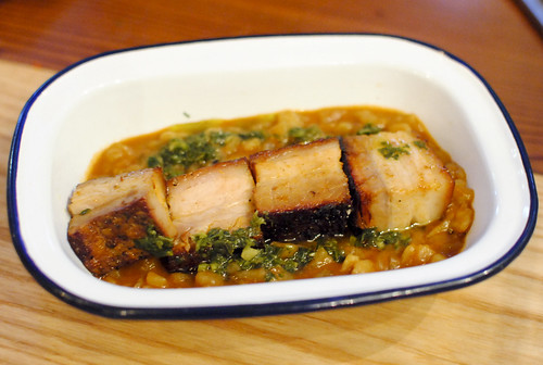 carapulcra peruvian sun dried potato stew, crispy pork belly, chimichurri