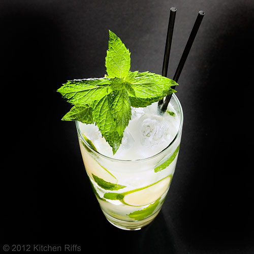 Mojito Cocktail with Mint Garnish and Straws, Overhead View