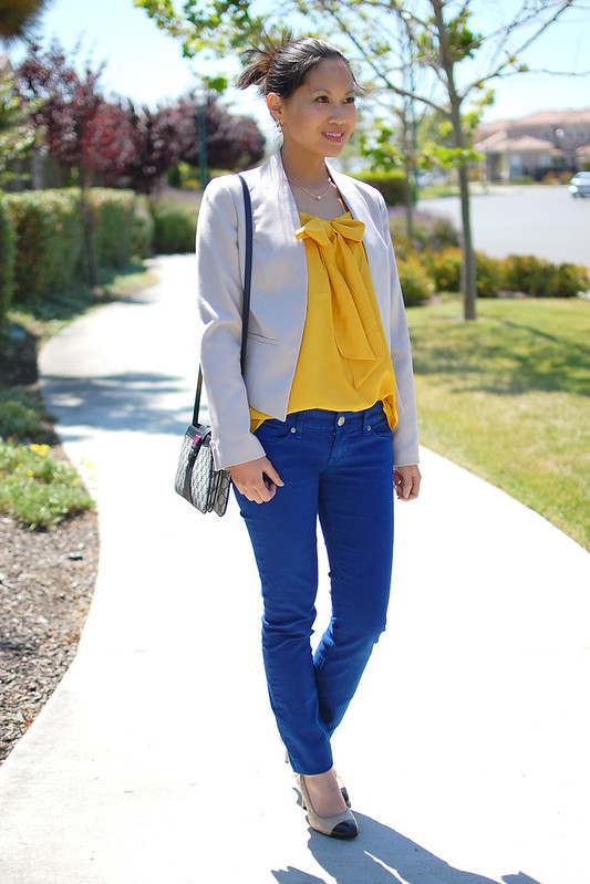 mustard yellow top shirt blouse and cobalt royal blue jeans pants