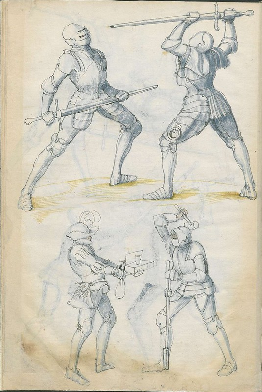 16th century sword fight manuscript drawing - Combat Knights 6