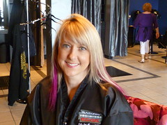 After multi dimension highlights and pink and black extensions added