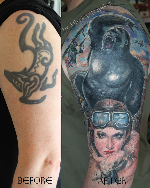 tattoo cover up with king kong by mirek vel stotker flickr photo sharing. Black Bedroom Furniture Sets. Home Design Ideas