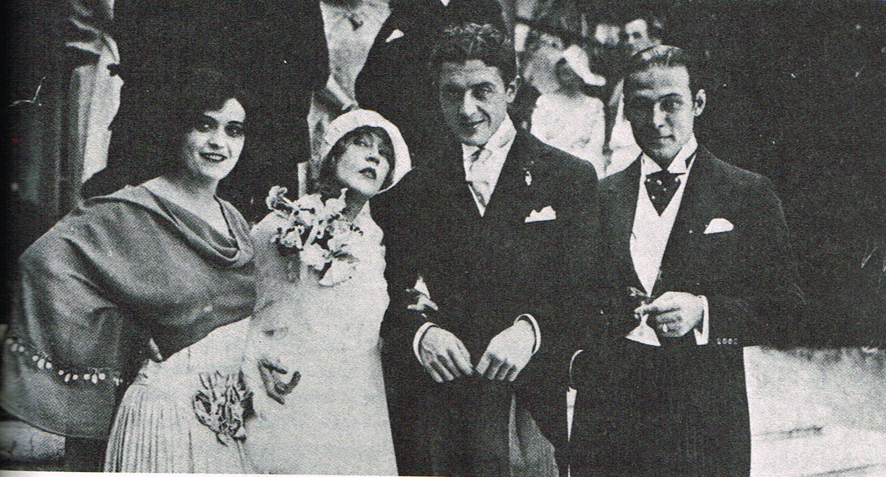 Pola Negri (Maid of Honour), Mae Murray (Bride), Prince David Mdivani (Groom), and Rudolph Valentino (Host)