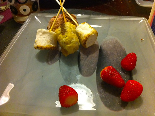 Deep Fried Mars Bar, Toasted Marshmallow, Ice Cream and Fresh Strawberries