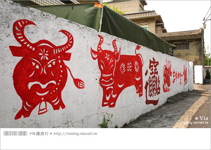 【彰化景點推薦】乳牛彩繪村(福寶村)~數百頭彩色小牛+夢幻藍晒圖的彩色村13