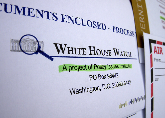 Policy Issues Institute, White House Watch Junk Mail