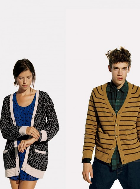 This Urban Outfitters ad features two figures in giant, androgynous cardigans. Their pained facial expressions suggest that they're so hip that it hurts.