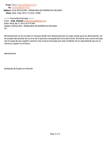 Apologize Spanish Emb in Finland