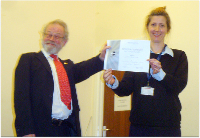 And here it is! Chief juge presenting Katy her 2nd place certificate