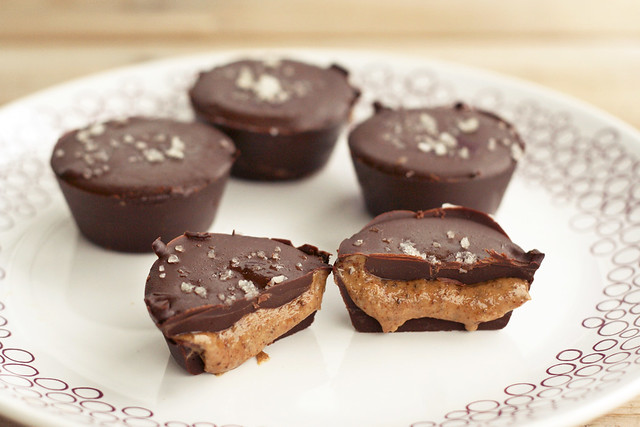 Dark Chocolate, Almond Butter Mini-Cups with Sea Salt, Gluten-free, Vegan + Refined Sugar-free