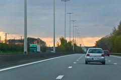 Coucher de soleil sur l'autoroute direction Bruxelles