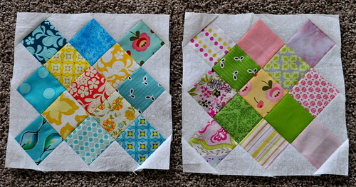 first 2 granny square quilt blocks