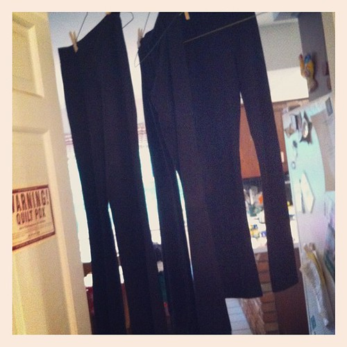 Pants for tap dancers drying... Part of being costume chair