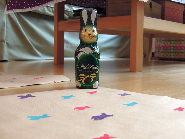 DIY bunny wrapping paper