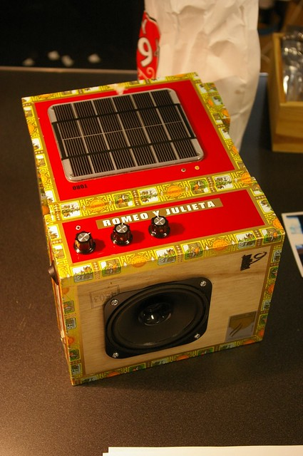 The solar powered Stella Amp in a cigar box enclosure