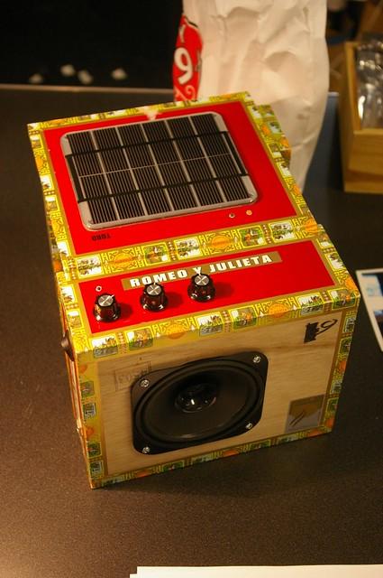 The solar powered Stella Amp in a cigar box enclosure