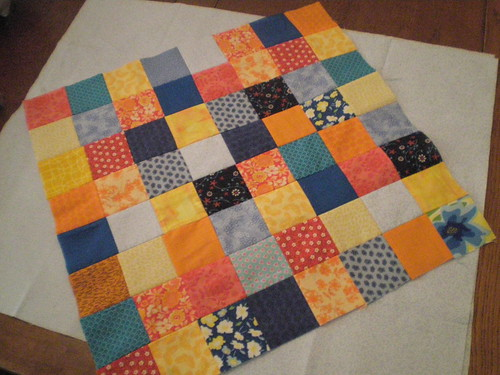 Finished patchwork with backing material