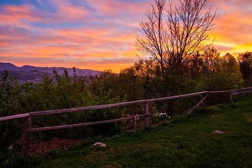 morning sky tree nature colors sunrise fence colours view slovenia slovenija gora limbarska