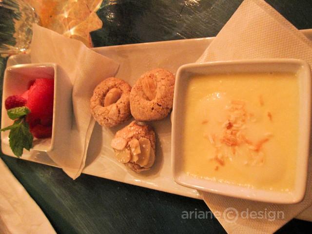 Coconut panna cotta, amaretti cookies, raspberry granita