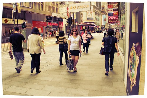 Walking along Central in Hong Kong