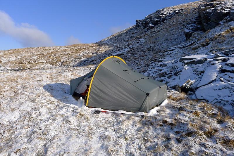 Perfect winter wild camping on Beinn Tharsuinn
