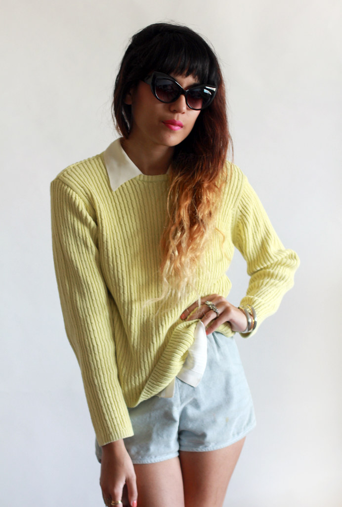 Tarte Vintage lime green cable knit sweater at shptarte.com