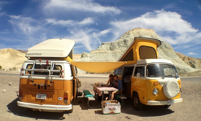camping, van, valley