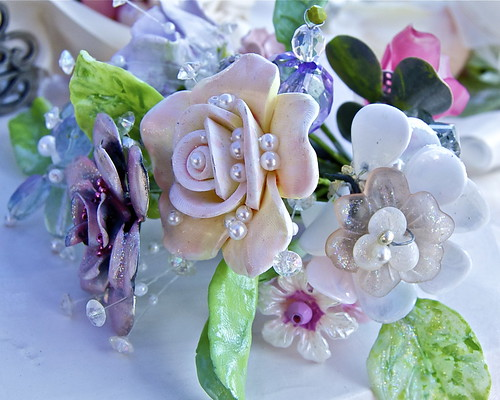 Handmade wedding bouquet, made of shells and beads. By Betty Smith
