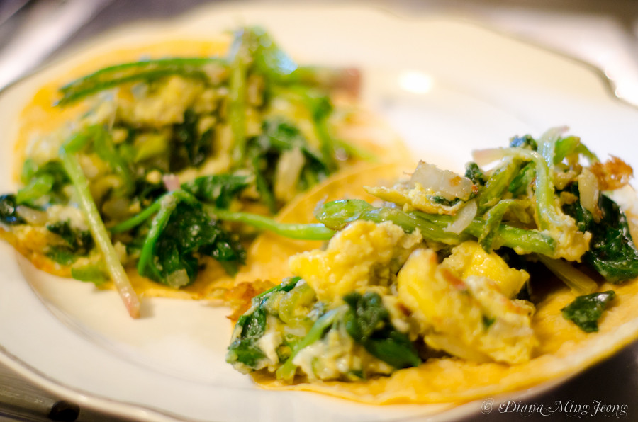 Spinach & Egg Corn Enchiladas with Green Chili Sauce