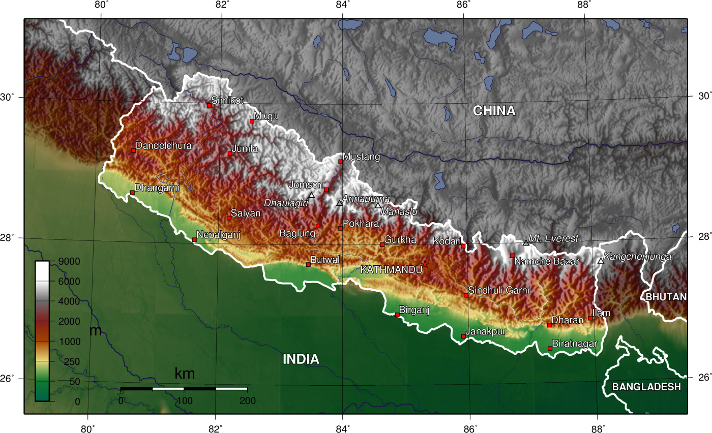 Mapa topográfico do Nepal