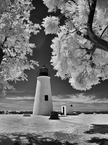 trees lighthouse landscape ir iso100 infrared 1320 f8 chesapeakebay qqq turkeypoint elkneckstatepark olympusepl1 silverefex2 panasonic14mmf25