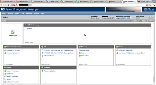 HP System Management Homepage Logged on