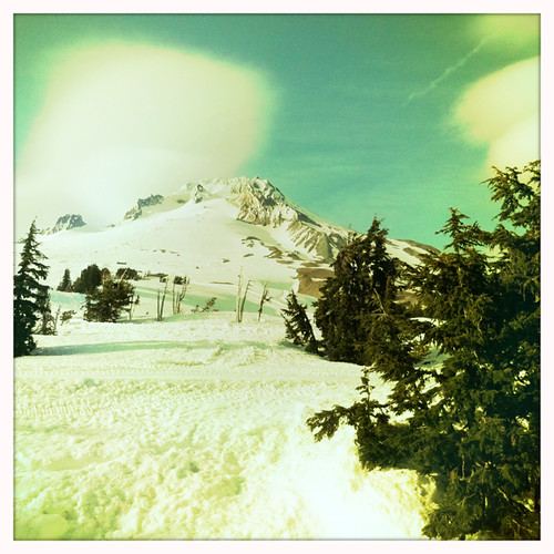 hipstamatic-ed view from our table at Timberline Lodge