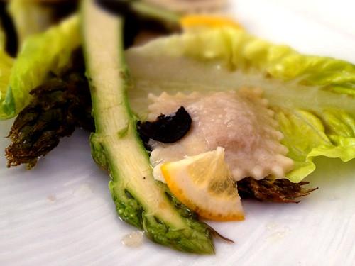 Asparagus with Foie Gras Ravioli, Petrossian