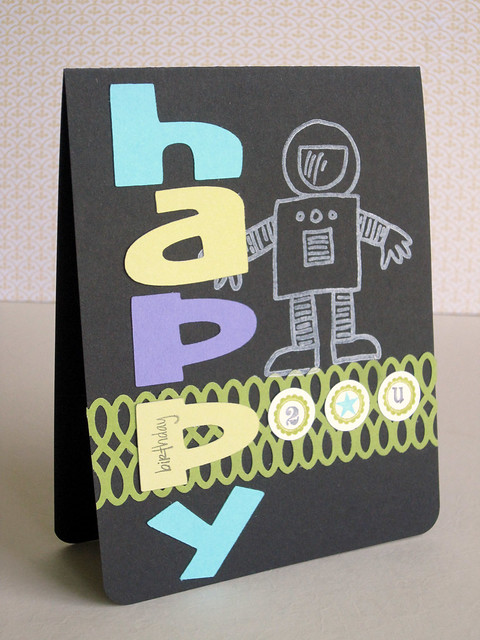 Robot Happy Birthday Card for Little Boy