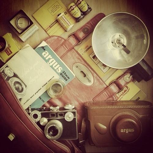 What's in our grandfather's camera bag in mid 50s?