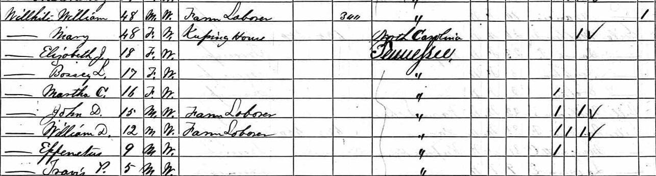 1870 Census Mary McGibboney