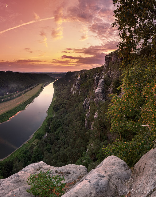 Sunset above river Elbe