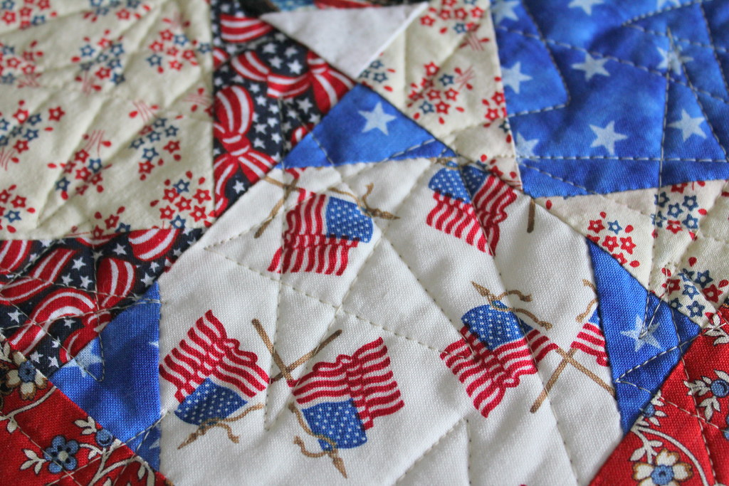 Star quilting on quilt