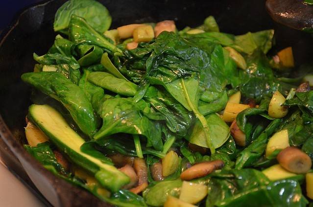 chopped spinach to saute
