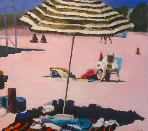 "Stephen Coyle, Every Thursday She Went to the Beach and Thought About Frank, alkyd on panel, 18"" x 20"""