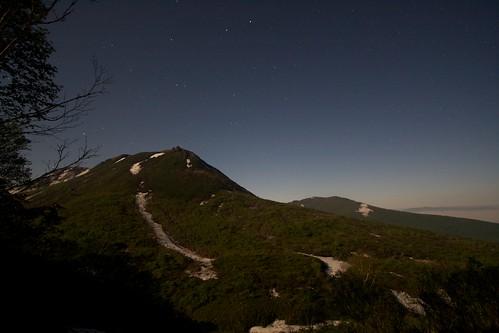 月明かりの下のイワオヌプリ