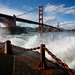 Golden Gate bridge and waves by tony.mignot