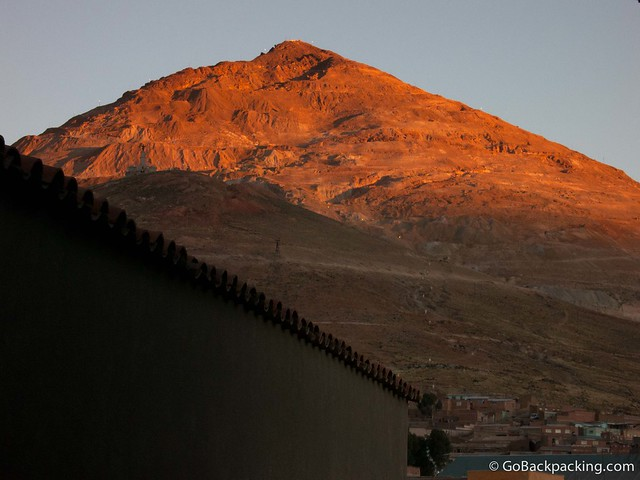 Cerro Rico glows red at sunset