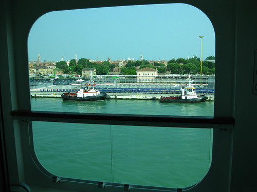 View from Norwegian Jade balcony stateroom 9506 about to leave Venice port