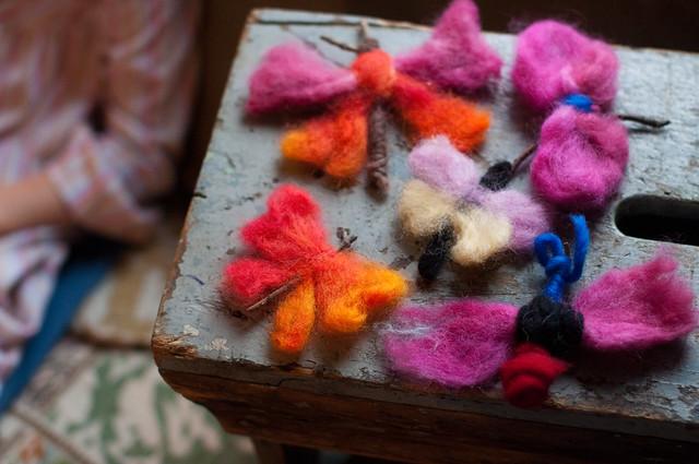 wool butterflies