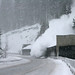 Avalanche above snowshed on Snoqualmie Pass by WSDOT