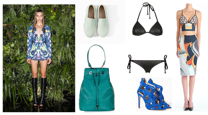 clover canyon, finders keepers, triangl swimwear, triangl, zara, slip ons, croc duffle bag, topshop,mixed prints, wishlist, leather swimsuit, caged heels, wishlist